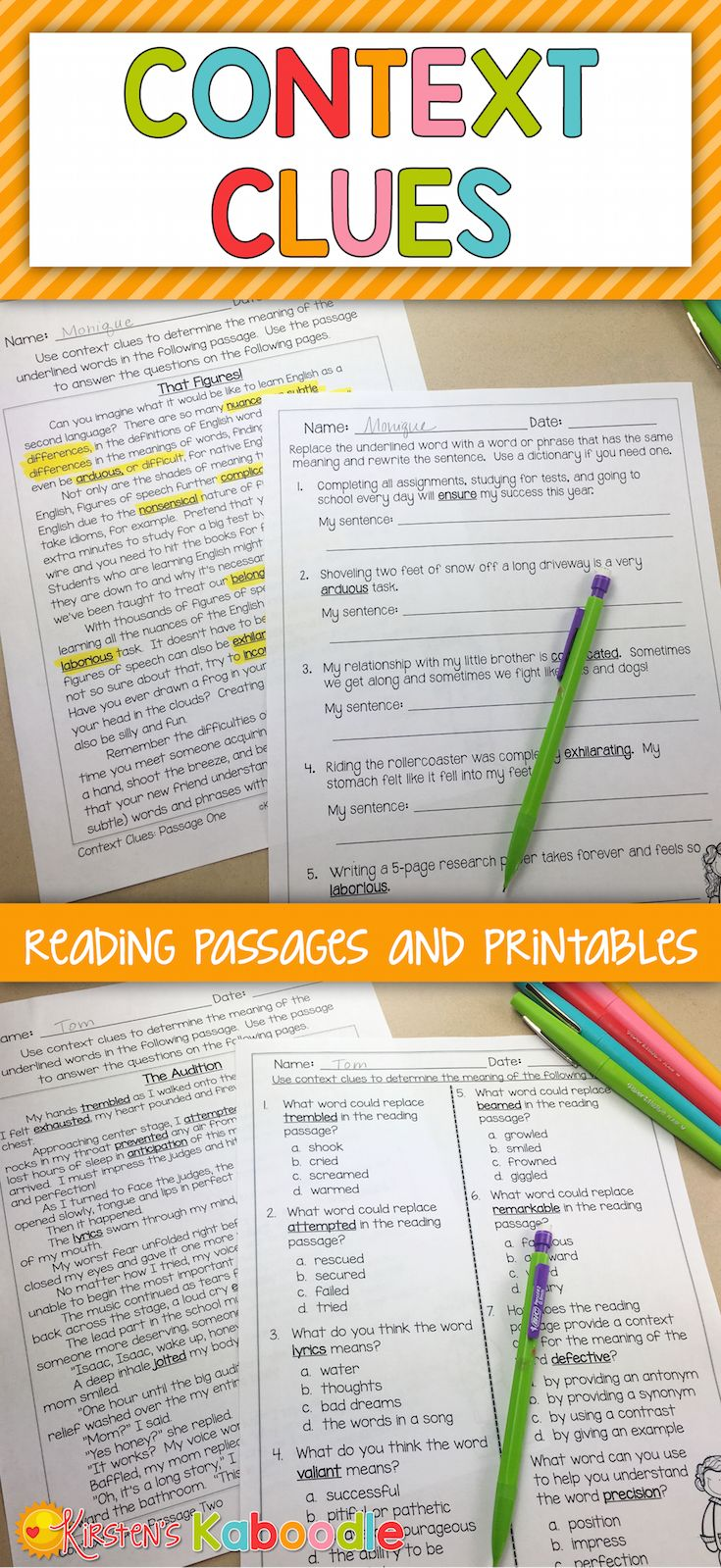 Are you looking for no prep context clues reading passages? This product offers print and go, common core aligned, easy to use context clues activities for 3rd, 4th, and 5th grade. This product includes four instructional pages to help students identify context clues, as well as 3 different (full page) reading passages with three printables for each passage.  It's perfect as a test review, skill reinforcement for small groups, or  whole class context clues instruction.