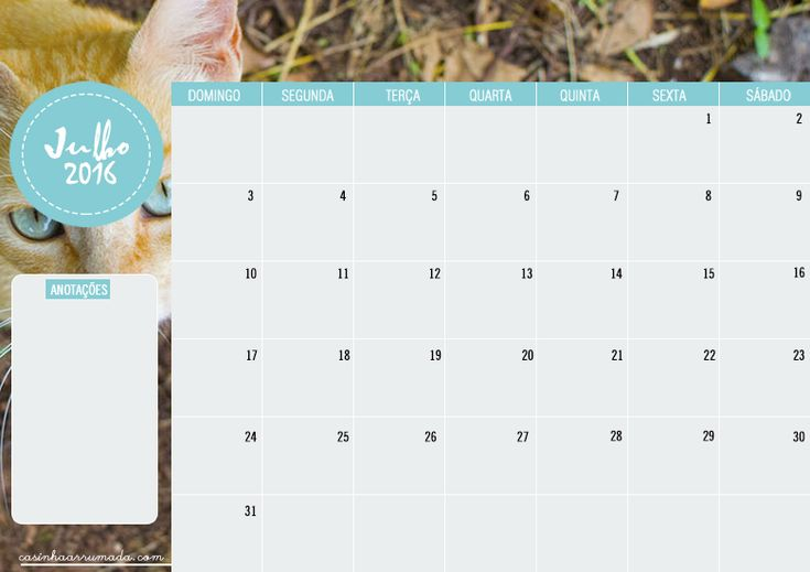Calendário Julho 2016 para download - Casinha Arrumada