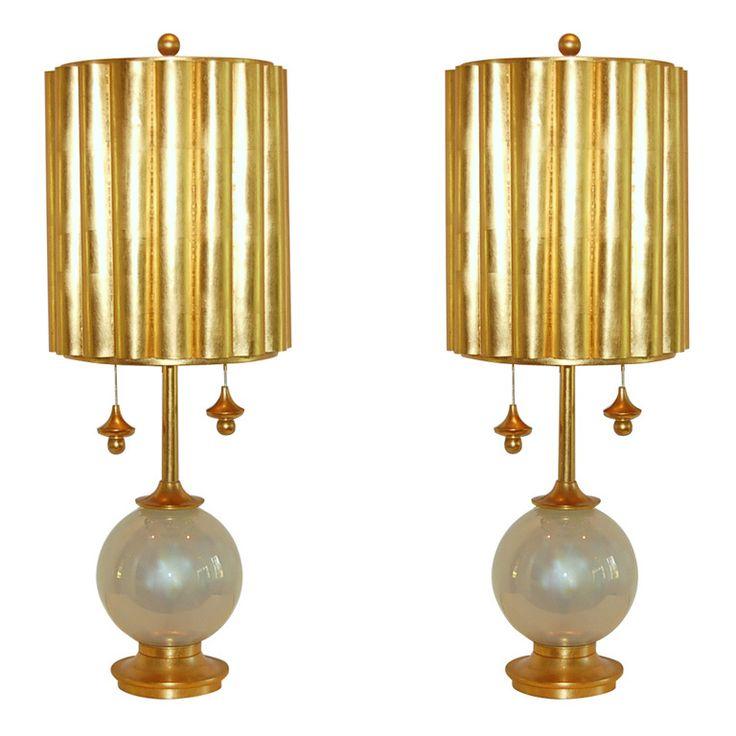 Pair Of Vintage Murano Lamps Of Pearl Opaline