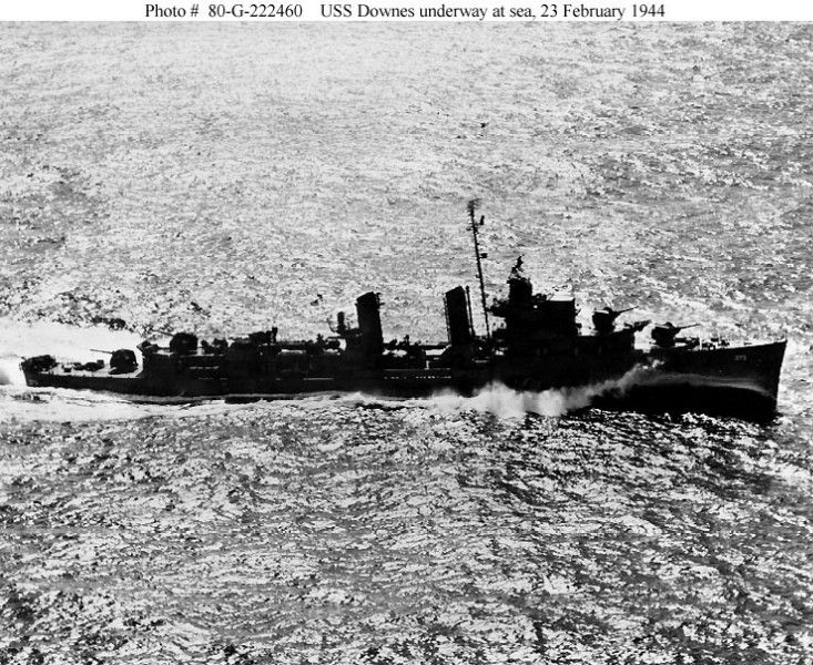 7 December 1941 - USS Downes (DD 375) was a Mahan-class destroyer. She was in drydock at Pearl Harbor, Oahu, US Territory of Hawaii, along with USS Cassin and USS Pennsylvania. She caught fire from Cassin, burned; returned to service November 1943.