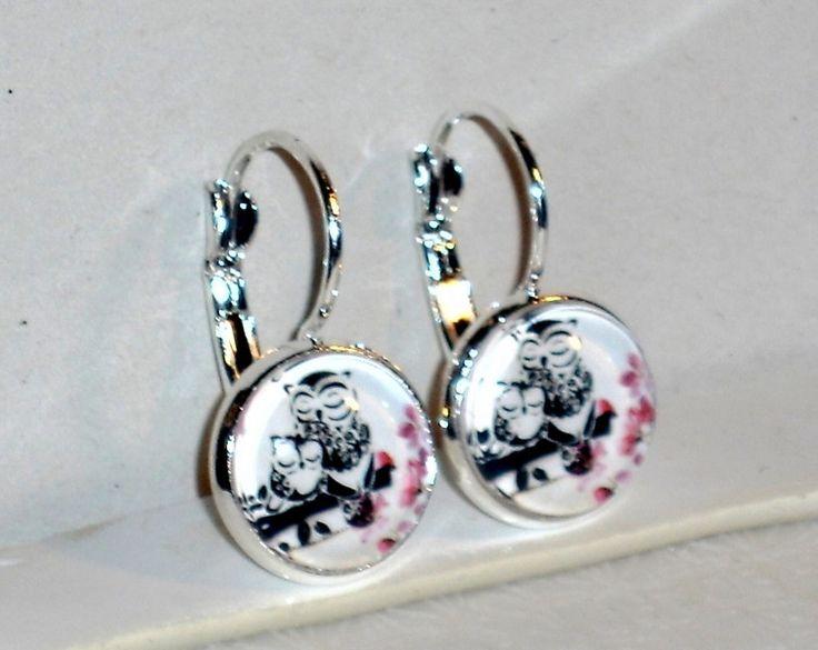 Ohrringe- Ohrringe Eule Glas Legierung Ohrschmuck Cabochon - ein Designerstück von ausgefallene-Ohrringe bei DaWanda