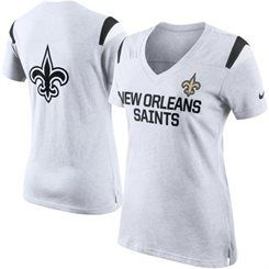 Women's Nike White New Orleans Saints Fan V-Neck T-Shirt