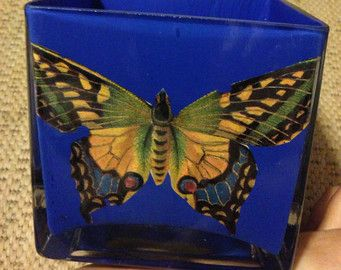 Hand Painted Glass Butterfly Container