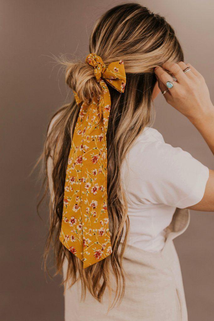Flower Hair Tie In 2020 Hair Styles Long Hair Styles Thick Hair Styles
