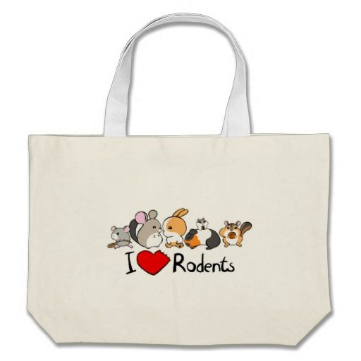 I love rodents cute cartoon large tote bag | Zazzle.com