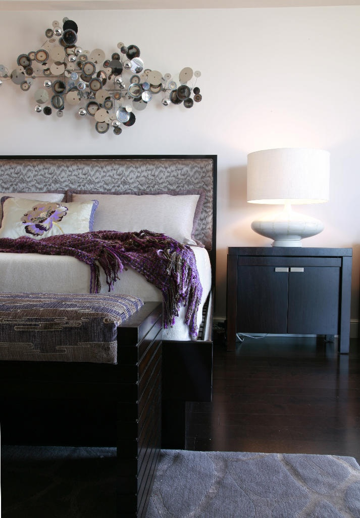 Modern bedroom in eggplant taupe and silver tones for Purple and taupe bedroom