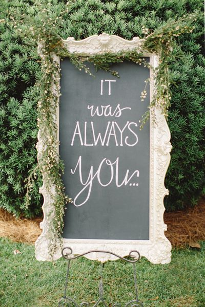 It was always you written in chalk on a blackboard. Tented Georgia Wedding by Harwell Photography - Southern Weddings Magazine