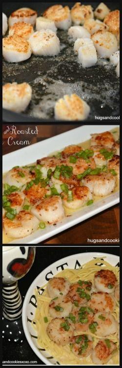 Scallops & Roasted Garlic Cream -