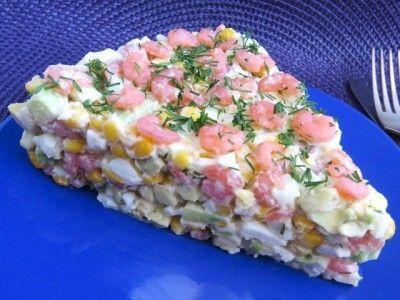 Салат из Авокадо, Креветок и Кукурузы