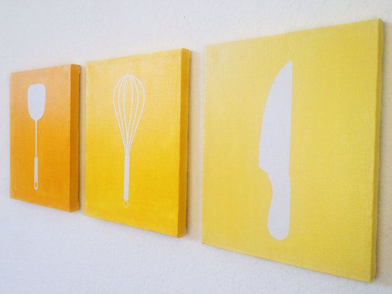 Kitchen Ombre Canvas Art by adapperduck on Etsy, $24.99 - Choose your color! ... Would be cute for a future kitchen!