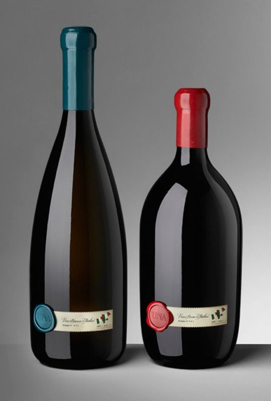 I love the use of the wax seal on the label. UNA #wine | Designed by Cibic Workshop #packaging