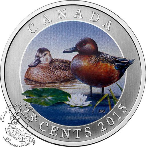 Coin Gallery London Store - Canada: 2015 25 Cent Cinnamon Teal Coloured Coin, $29.95