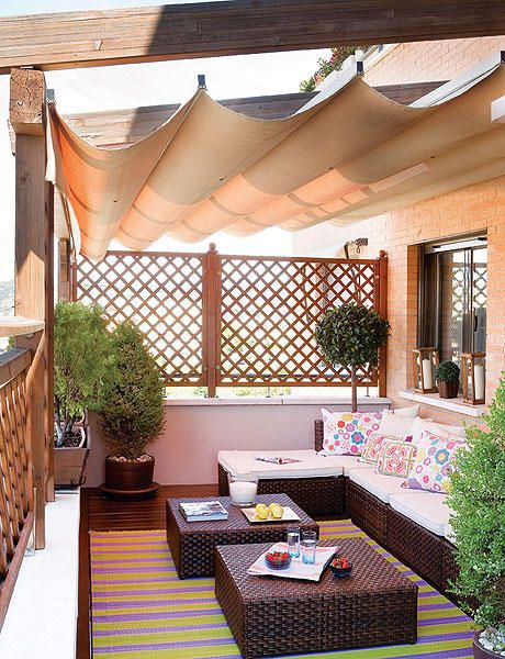 privacy lattice, sunken room and retractable ceiling to allow sun.  Add planters that vine alone lattice for added privacy and beauty