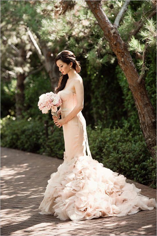 A powder pink wedding dress. wedding dress blush