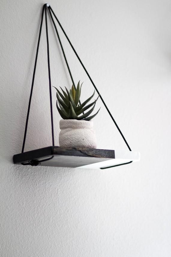 Hanging Shelf / 1 MINI Two Tone Shelf | Hanging Shelves – Floating Shelves – Dip Dyed Shelf – Wood S