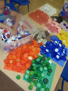 recycled bottle caps can be used for so many things.  For sorting counting, drill holes in centers for lacing with shoe strings, use as a cup for holding elmers glue cuts down on excessive use of glue ( q-tip to apply)  noses for pigs aliens monsters etc.