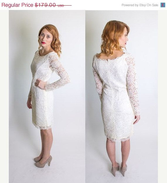 ON SALE Vintage 1980's Short Lace Wedding Dress by BeulahLouiseVintage, $143.20