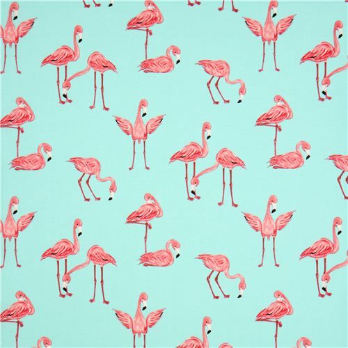 turquoise blue flamingo fabric by Michael Miller  2