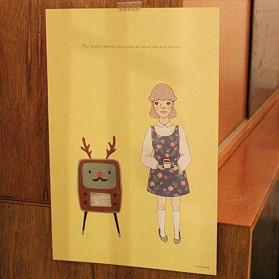 message poster-Sweet tea & Movie /christmas illustration