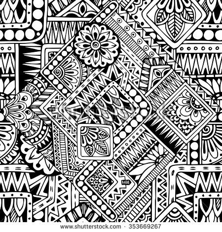 Seamless asian ethnic floral retro doodle black and white pattern in vector.Background with geometric elements. Can be used for wallpaper,…