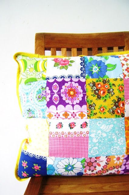 happy pillow from vintage fabrics