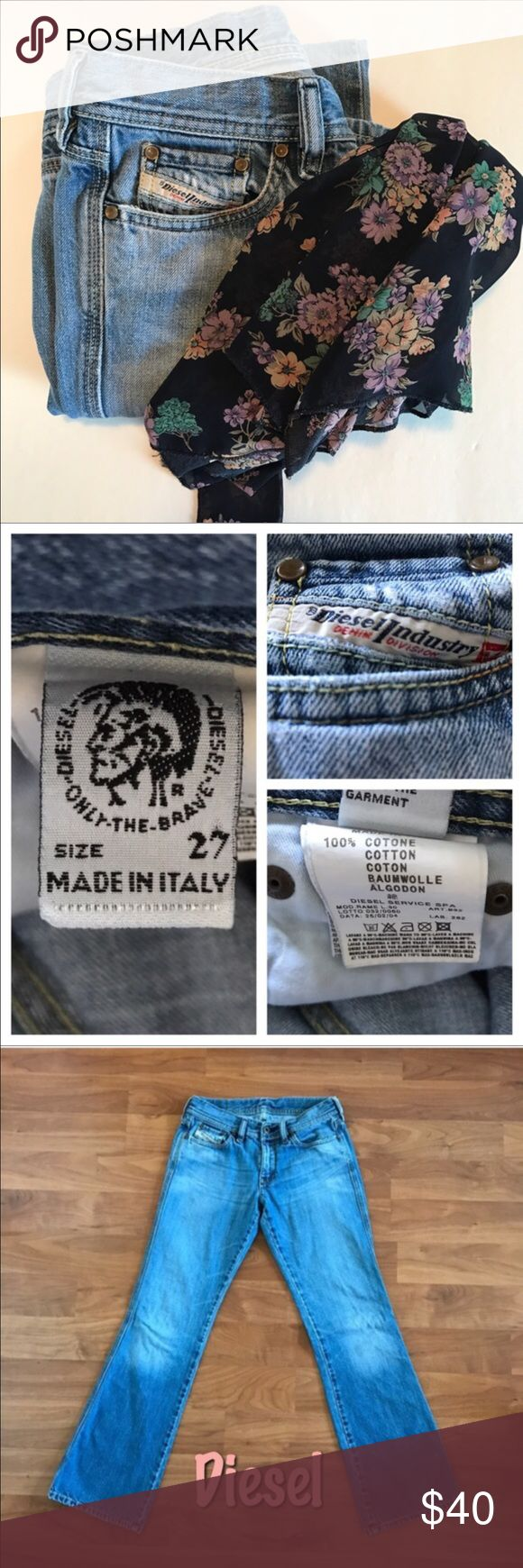 "Diesel boot Cut Jeans Diesel boot cut low rise jeans. Size 27, Excellent condition, Comes from a smoke free home.    Measurements: Inseam: 29 1/2"" Outseam: 36"" Waist: 26"" Leg Opening: 17"" Front Rise: 8"" Back Rise: 10 1/2"" Hips: 32"" Diesel Jeans Boot Cut"