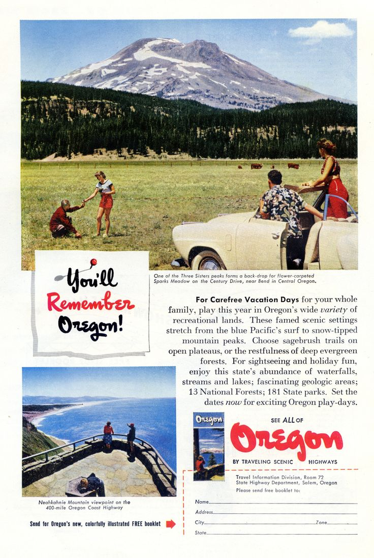 Ad for Oregon tourism. March, 1952.
