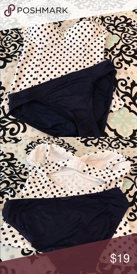 Tankini polka dot  top blue bikini bottom Tankini white with blue polka dots navy blue bikini bottom super soft material (nylon) worn once DKNY Swim Bikinis