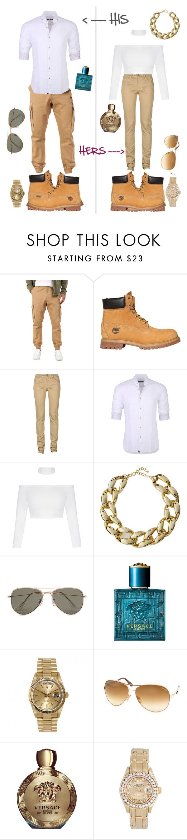 """Couple Outfits ♡"" by chanal ❤ liked on Polyvore featuring Staple, Timberland, Monkee Genes, Stone Rose, Kenneth Jay Lane, SELECTED, Versace, Rolex and Tom Ford"
