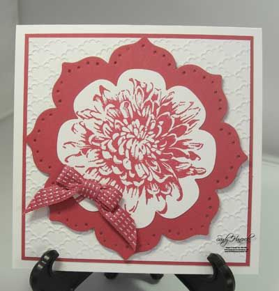 handmade greeting card ... Floral Framelits with dahlia stamp ... perfect fit ... like the design ... just two colors ... Stampin' Up!