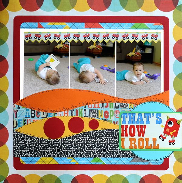 Layout: that's how i roll_sassafras....cute page, waves could be used for a water page too!