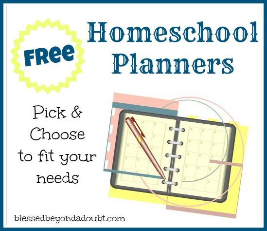 Free homeschool planners! Pick and choose to make the perfect planner.