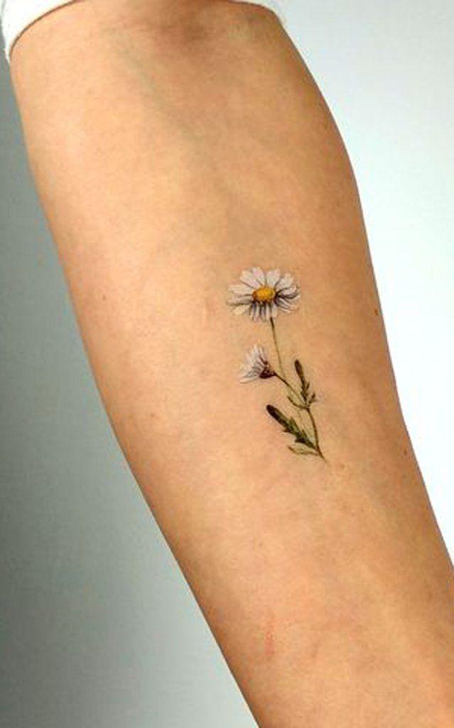 Small Tiny Watercolor Daisy Forearm Tattoo Ideas for Women – watercolor flower tattoo ideas for women – www.MyBodiArt.com