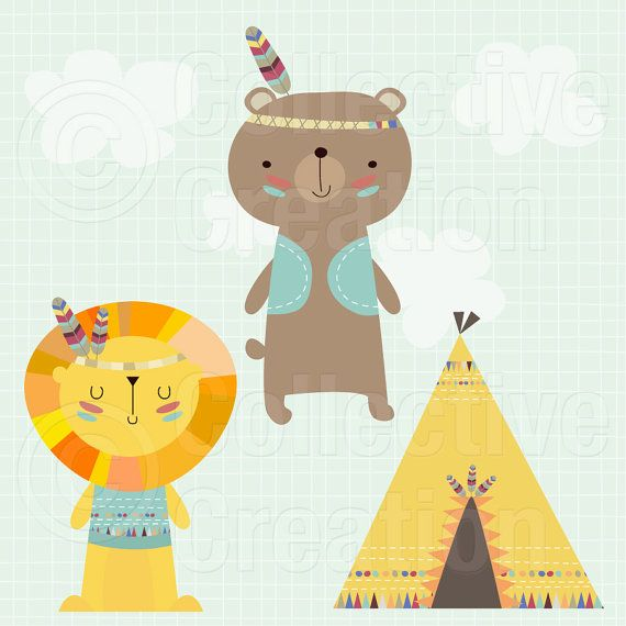 Playtime Bear and Lion with Teepee Digital by CollectiveCreation