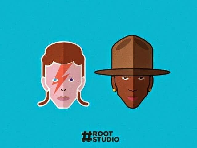 Ilustración de Pharrell y David Bowie