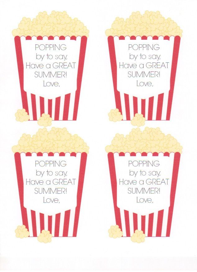 Popcorn printable for end of year gift | Teaching Loves ...