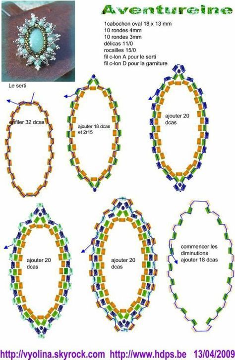 A pattern for pendant or ring or brooche Aventureine by Vyolina. (Part 2 of 4). U need: 1 cabochon or button 18×13 mm 10 round beads 4 mm 10 round beads 3 mm seed beads (delica) 11\0 seed beads 15\0 - See more at: http://beadsmagic.com/?p=626#more-626