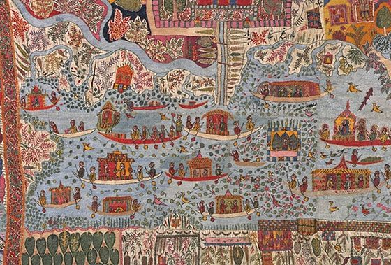 Kashmiri shawl detail, V&A. This embroidered bird's-eye view of Srinagar, the capital of Kashmir, shows the main streets, buildings and gardens of the city, and even includes tiny boats on Dal Lake and the River Jhelum. On the lake is an elaborate boat bearing a ruler (with a halo) who may be Maharaja Ranbir Singh, ruler of Kashmir from 1857 to 1885.