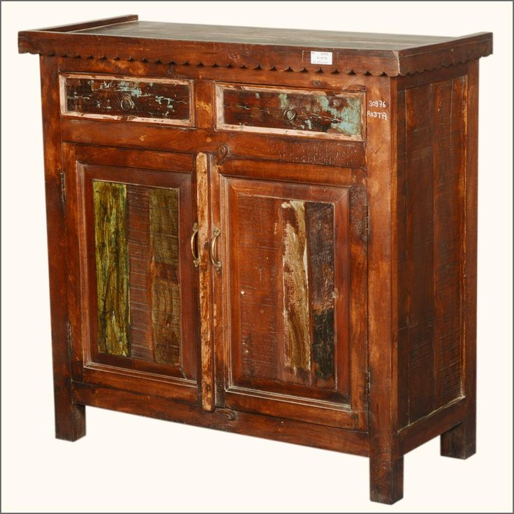 Rustic Extended Top Gothic Reclaimed Wood Storage Cabinet