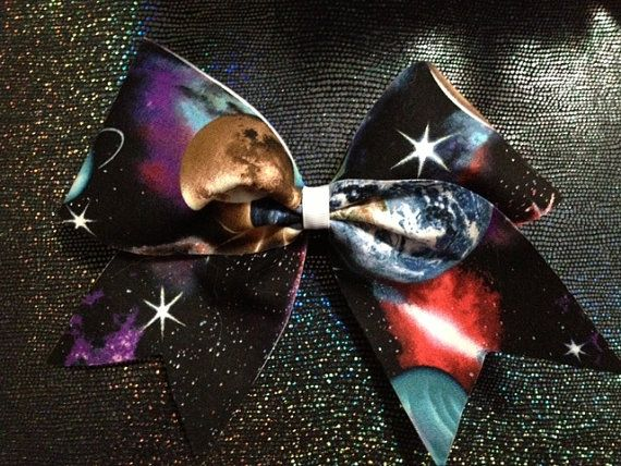"""3"""" Space print cheer bow"""