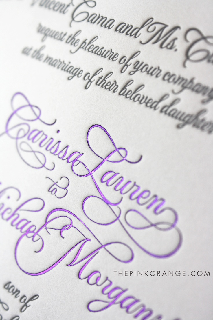 Letterpress and foil - what a great way to add some elegance!  www.thepinkorange.com