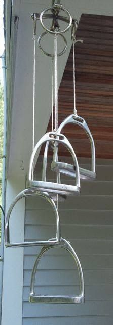 Wind chime made from stirrups and bits
