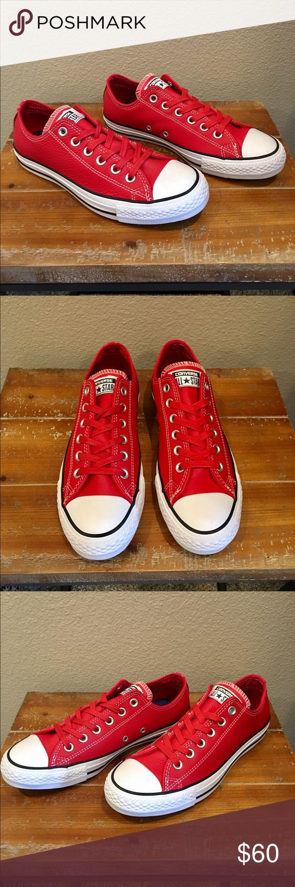 RED LEATHER CONVERSE NWOB, never worn, nothing cooler than red kicks to show your sassy style❣️I saw these on a lady with boyfriend jeans and a tank and became obsessed! They scream style, confidence and originality! Red leather low top cons, red coated laces, black stripe on white walls, silver eyelets. Mad love❤️Women's sizing. Converse Shoes Sneakers