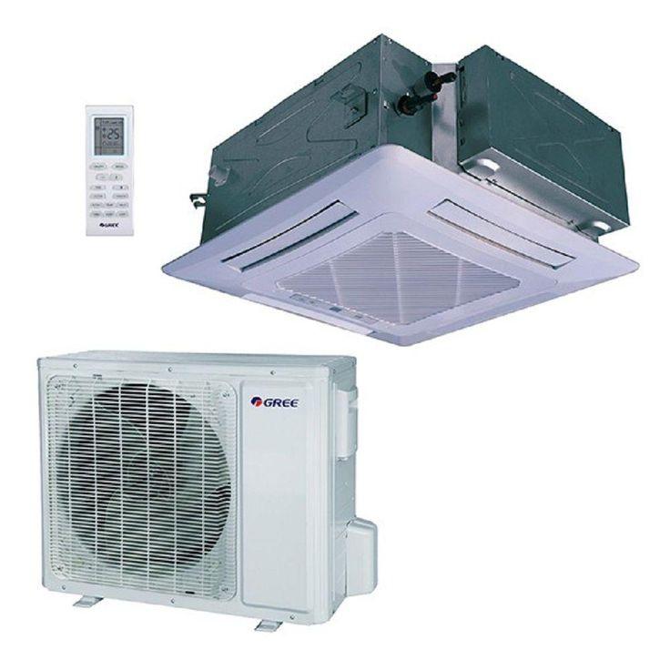 24,000 BTU (2 Ton) Ductless Ceiling Cassette Mini Split Air Conditioner with Heat, Inverter, Remote - 230V/60Hz, White
