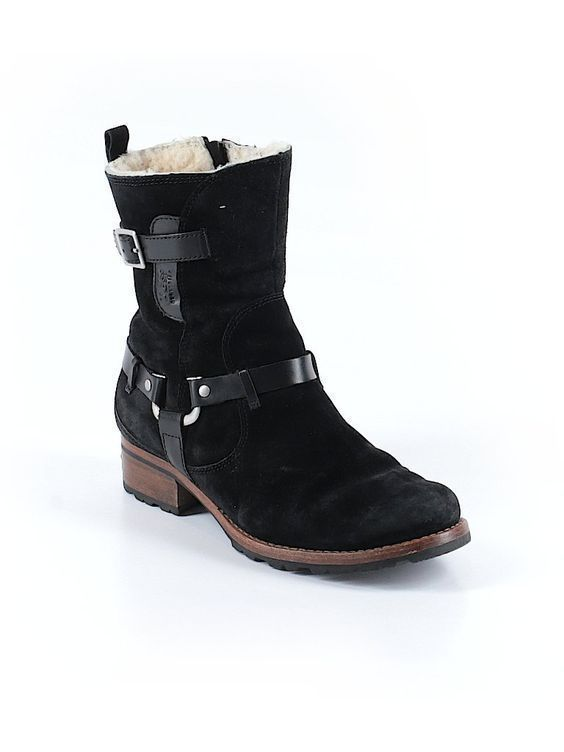 4d5dc8e53c2 Women Ugg Endell Black Suede Leather Harness Boots 5604 Size 7.5 38.5  ugg   Motorcycle  Casual