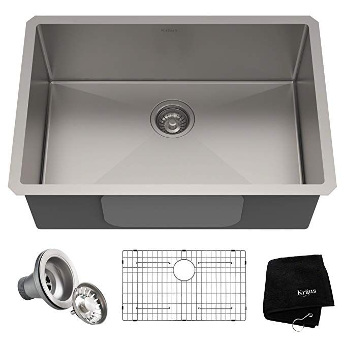 Kraus Khu100 28 Kitchen Sink 28 Inch Stainless Steel Undermount Kitchen Sinks Sink Single Bowl Kitchen Sink