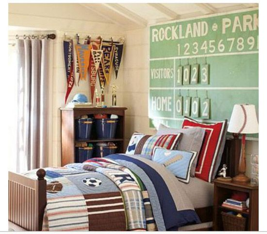 awesome sports bedroom ideas for active boys i love how the decor accessories work so well with the blue furniture in this pottery barn kids room