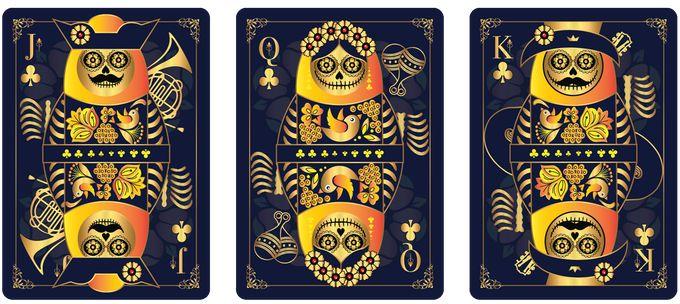Clubs court cards from CALAVERAS DE AZÚCAR Playing Cards (BLUE Deck) that is currently on Kickstarter.    https://www.kickstarter.com/projects/393497409/calaveras-de-azucar-playing-cards