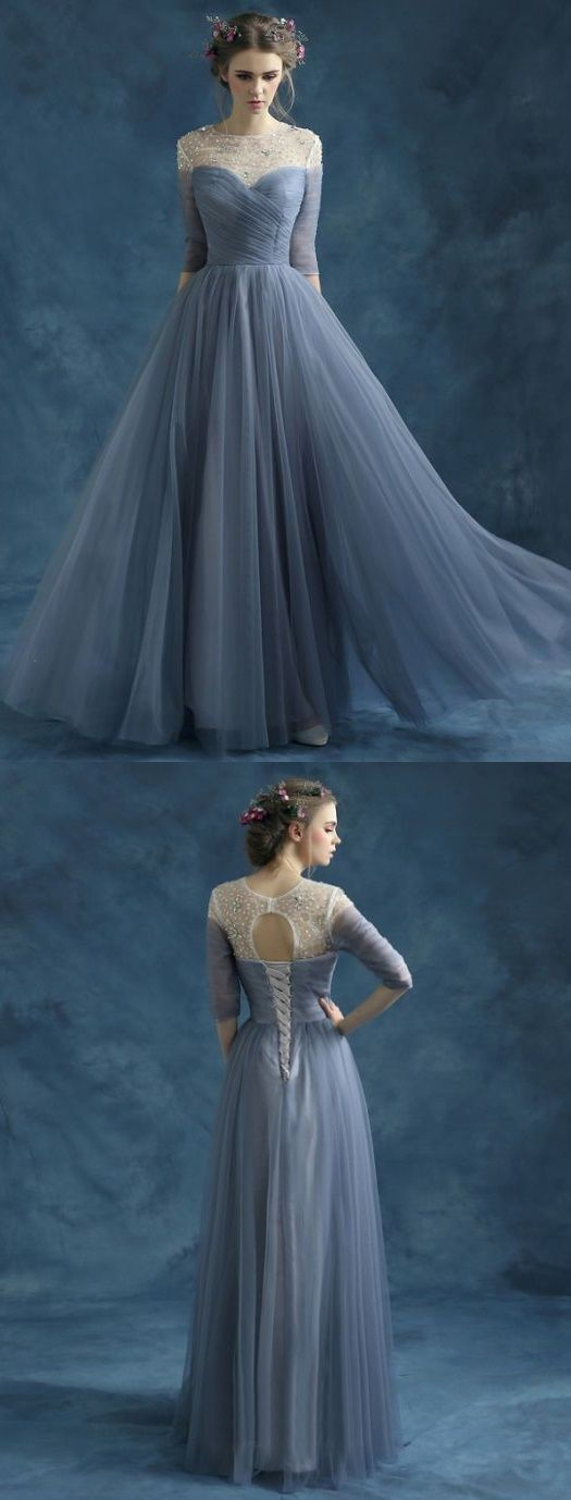 A-line Scoop Neck Floor-Length 3/4-Length Tulle Evening Dresses / Evening Dresses # AM403