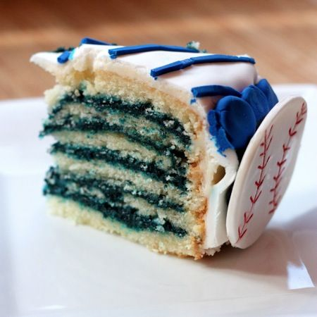 Yankees Pinstripe Cake (a.k.a. Reverse Blue Velvet) - but you can make it any color you like!